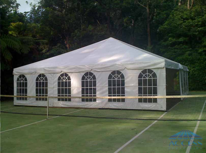 Free Standing Marquee erected on the tennis Court